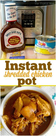 This Instant Pot shredded chicken with barbecue is the bomb!! It's SO good and you only need 3 ingredients to make it. $15 meal for 5 that's healthy and so simple. via @thetypicalmom