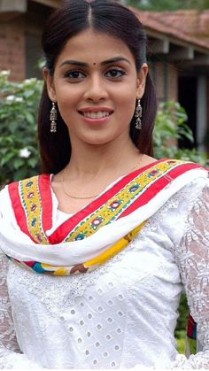 Genelia Deshmukh is an Indian film actress and model. She has appeared in Telugu, Hindi and Tamil films. Beautiful Blonde Girl, Beautiful Girl Indian, Beautiful Girl Image, Most Beautiful Indian Actress, Indian Actress Photos, South Indian Actress, Indian Actresses, Cute Beauty, Beauty Full Girl
