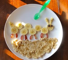 bananas, raisins, grapes and oatmeal in the hands of a creative person- I so want to do this some day :)