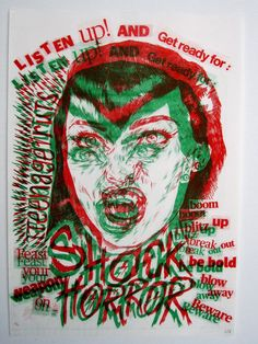 Shock Horror Risograph Print by GiveemHellKidShop on Etsy