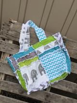 Elephant Diaper Bag in Turquoise, Green, and Gray Rag Quilt Style, Made To Order - Diaper Bag - A Vision to Remember