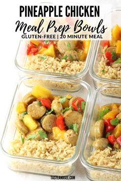 Recipes Snacks Meal Prep Pineapple Chicken Meal Prep Bowls – they're tangy and sweet and all kinds of delicious! With brown rice and our favorite al fresco chicken sausage these bowls are a quick, easy and a well-balanced meal! Best Meal Prep, Lunch Meal Prep, Meal Prep Bowls, Healthy Meal Prep, Healthy Snacks, Healthy Dinners, Weeknight Meals, Healthy Eating, Beef Recipes For Dinner
