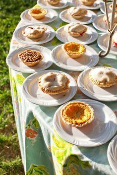 summer wedding desserts mini pie display 275x412 Summer Wedding Dessert Spotlight: Pies and Tarts