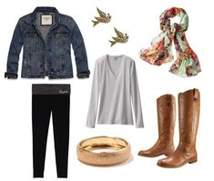For being comfy and well-layered for those early-morning classes (at least, in coastal California weather), a long-sleeved tee with a denim jacket and oversized scarf hit the mark. Pair with classic boots and a touch of jewelry to keep the whole look polished.