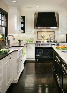 black and white with beautiful ebony hardwood floors