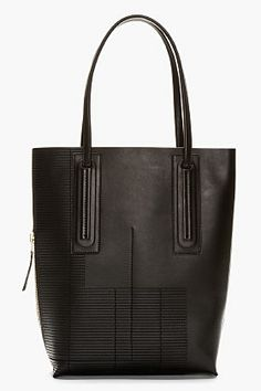 RICK OWENS Black Leather Extra Tall Tote