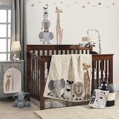 "Lambs & Ivy Signature Tanzania Tan/Gray Safari 4 Piece Crib Bedding Set - Lambs & Ivy Signature - Babies ""R"" Us"