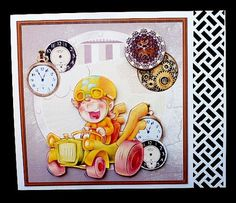 racing through time card with decoupage and sentiment tags on Craftsuprint designed by Angela Wake - made by Diane Hitchcox