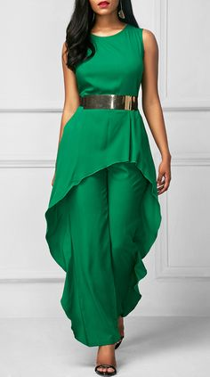 Sleeveless High Waist Flouncing Green Jumpsuit, high quality and better service at rosewe.com, check it out.