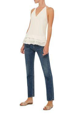 Silk Crepe V-Neck Blouse by CUSHNIE ET OCHS Now Available on Moda Operandi