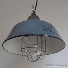 LA83 Graue Industrielampe mit Schutzglas und Gitter - Fabriklampen »