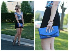 Cropped Floral: cropped floral print top, black high waist culotte shorts, Brahmin electric blue Normandy clutch, cobalt blue, black lace-up peep-toe booties