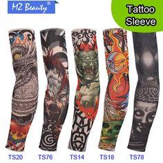 5 PCS new mixed 92%Nylon elastic Fake temporary tattoo sleeves design body Arm sleeves tattoo for cool men women tattoo sleeves