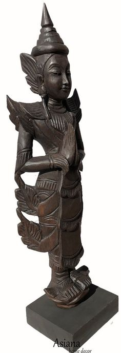 Clearance Sawaddee Welcome Asian Statue Carved Wood with Stand. Carved Wood Wall Art, Wood Wall Decor, Wooden Art, Home Decor Wall Art, Wooden Wall Panels, Wood Panel Walls, Panel Wall Art, Tropical Home Decor, Asian Home Decor