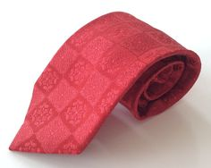 Emilio Ponti Neck Tie Red Floral Geometric 100% Silk #EmilioPonti #NeckTie