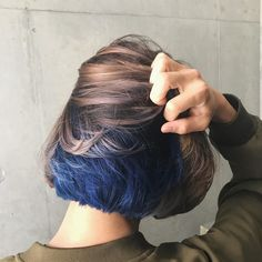 Why stay at one color when you can have two? Iris Blue with Beige Brown for the Fantastic Combo 💙💛 Styled and served by Japanese Stylist Gomi at hair salon NALU Dye My Hair, New Hair, Hair Inspo, Hair Inspiration, Underlights Hair, Aesthetic Hair, Cool Hair Color, Under Hair Color, Two Color Hair