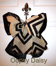 "10"" brown and black chevron & black burlap bow by OOPSYDAISYDESIGNS, $15.00"