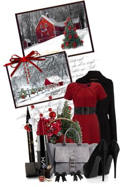 """Beautiful Christmas Snowfall"" by queenrachietemplateaddict on Polyvore"