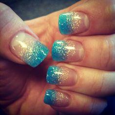 Gel nails blue with light pink sparkle