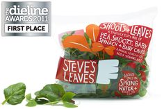 """At the time, the salad fixture in supermarkets was one big impenetrable green hedge-like wall where everything looked the same. We seized the opportunity to stand out from the crowd and depicted Steve's hand picking the leaves on the front with bright colours that reflected the intense flavours of these naturally delicious little leaves. We made the bags """"one serve"""" portion size, which allowed people to mix and match varieties instead of just buying one big bag."""