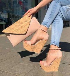 Cork Wedges With Matching Clutch Ankle Strap Wedges, Wedge Sandals, Wedge Shoes, Shoes Heels, Pumps, Dream Shoes, Crazy Shoes, Me Too Shoes, Pretty Shoes