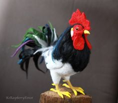 Felted Rooster Needle felted Rooster Felted bird Bird | Etsy