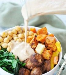 Root Vegetable Power Bowl & Roasted Garlic Tahini Dressing