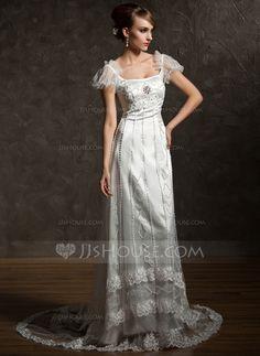 Wedding Dresses - $225.99 - Sheath/Column Square Neckline Chapel Train Tulle Charmeuse Wedding Dress With Lace Beadwork Crystal Brooch (002012089) http://jjshouse.com/Sheath-Column-Square-Neckline-Chapel-Train-Tulle-Charmeuse-Wedding-Dress-With-Lace-Beadwork-Crystal-Brooch-002012089-g12089?ver=xdegc7h0