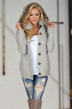 Love You Forever Knit Hooded Sweater - Heather Grey
