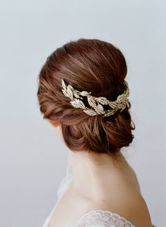 beautiful gold leaf hair piece