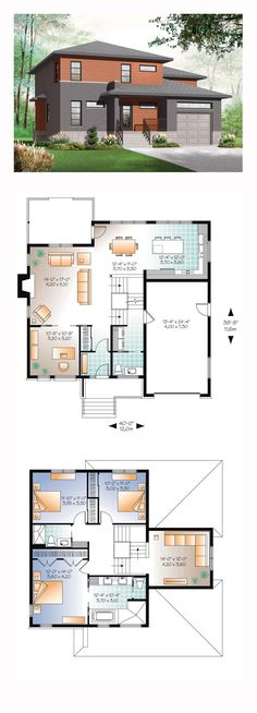 House Plan 76307 - Contemporary, Modern Style House Plan with 2072 Sq Ft, 3 Bed, 3 Bath, 1 Car Garage Sims House Plans, Modern House Plans, Small House Plans, Modern House Design, House Floor Plans, Split Level House Plans, Br House, House Bath, Casas Containers