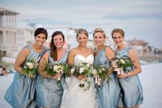 A Blush and Blue Rustic Elegant Wedding. Love the color of the bridesmaids dresses.