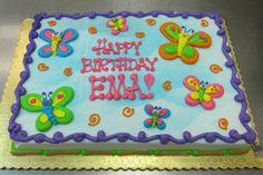 Happy Birthday Sheet Cake by Stephanie Dillon Hy-Vee Buttercream Decorating, Wilton Cake Decorating, Buttercream Cake, Frosting, Birthday Sheet Cakes, Birthday Cake Girls, Butterfly Cakes, Butterfly Birthday, Sheet Cake Designs