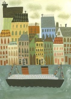 Arriving in Stockholm by Matte Stephens.  I love the all the lines on the houses and buildings.