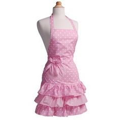 A flirty polka dot print and ruffle hem highlight this beautiful 'Strawberry Shortcake' apron from Flirty Aprons. This apron is constructed of cotton for ease of care. Ruffle Apron, Pink Apron, Flirty Aprons, Cute Aprons, Pink Polka Dots, Couture, Up Girl, Strawberry Shortcake, Pretty In Pink