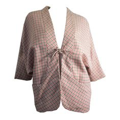 Pink and Grey Houndstooth Batwing Jacket circa 1960s - Dorothea's Closet Vintage