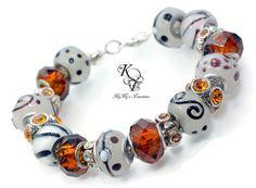 Brown Chunky Bracelet, European Style Bracelet, White and Brown Bracelet, Brown Bracelet, Chunky Bracelet, Large Hole Bracelet, Gift For Her