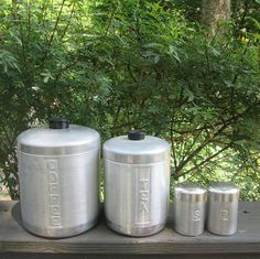 Vintage Aluminum Canisters - Coffee/ Tea/ Salt and Pepper Storage Containers - Canister Set - Tin Kitchenware - Country Kitchen