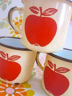 Day 180 - Vintage French Pomme Enamel Mugs by Pommedejour on Etsy