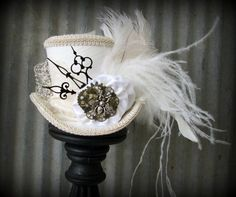 White Linen Queen Bee Steampunk Wedding, Alice in Wonderland Mini Top Hat, Tea Party, Mad Hatter Hat, Bridal Shower,cog gear hat, clock hat: