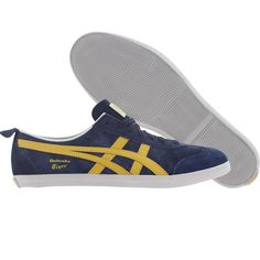 Asics Onitsuka Tiger Mexico 66 Vulc SU shoes in navy and yellow.