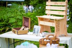 The guestbook was a bench that late would be varnished and put in the couples home. Fun idea!