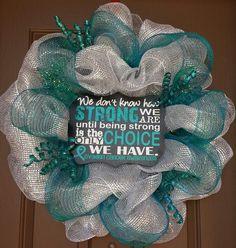 Ovarian cancer awareness wreath