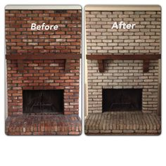 """White wash brick fireplace! Sherwin Williams """"Cashmere"""" paint in white (VERY IMPORTANT because it needs to be thick paint)!! Mix one part paint, one part water. Brush on paint and dab with a rag."""