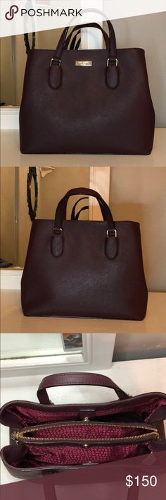 Burgundy, Kate spade bag In perfect condition, never used it. My ex gave it to me and I can't bare to have it anymore. It's such a cute bag and it has the extended strap as well kate spade Bags Crossbody Bags