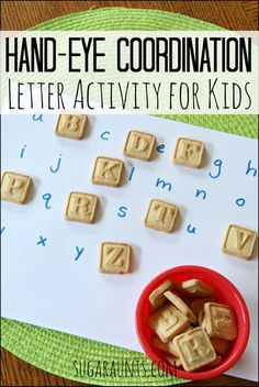 Practice letter identification, letter matching, visual scanning, eye-hand coordination, and fine motor skills while enjoying a yummy snack!