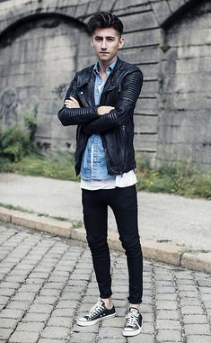 Get this look: http://lb.nu/look/3895898  More looks by Christoph Schaller: http://lb.nu/christophschaller  Items in this look:  Viparo Jacket Signature, American Apparel Denim Shirt, Acne Studios Acne T Shirt, Acne Studios Acne Jeans, Converse Chucks