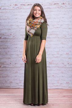 """""""Way To My Heart Maxi, Olive"""" The way to our heart is through a super comfy maxi with all kinds of accessorizing options! Oh wait... here it is! You can do so many things with this maxi dress! #newarrivals #shopthemint"""