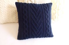 Navy cable knit pillow cover knitted indigo by Adorablewares