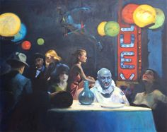 Keith Wicks painting, Dinner with Hopper, 60x48, oil
